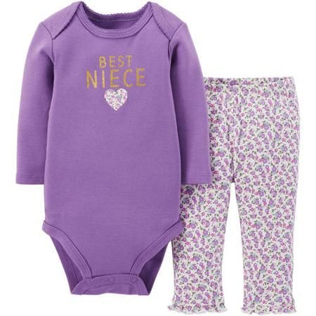 Child Of Mine by Carter's Newborn Baby Girl Bodysuit and Pants Outfit 2-Piece Set - Walmart.com