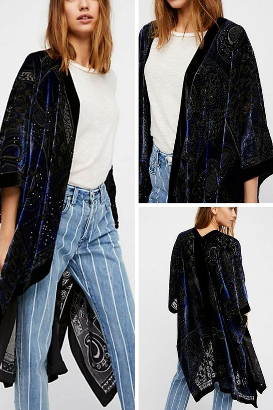 Patterned velvet kimono pieced with sheer mesh and hints of contrasting color. #boho #ad #kimono #cover #spring #summer