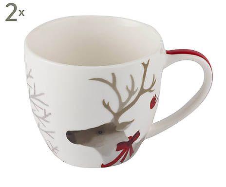 Kaffeebecher Deer Friends, 2 Stück, H 8 cm