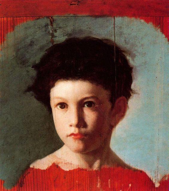 """Rafael Romero Barros: """"Carlos Romero de Torres niño"""",1875/76, oil on canvas,  39 × 34,5 cm, Museo de Bellas Artes de Córdoba, Cordoue, (Espagne)."""