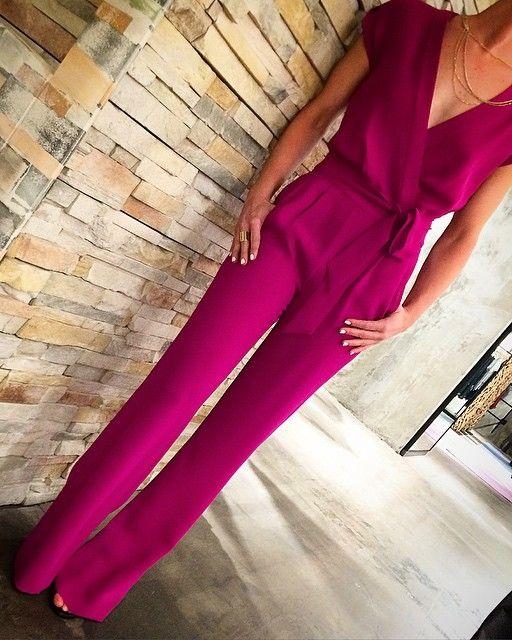 Macacão longo | rosa | frente v| elegante | social