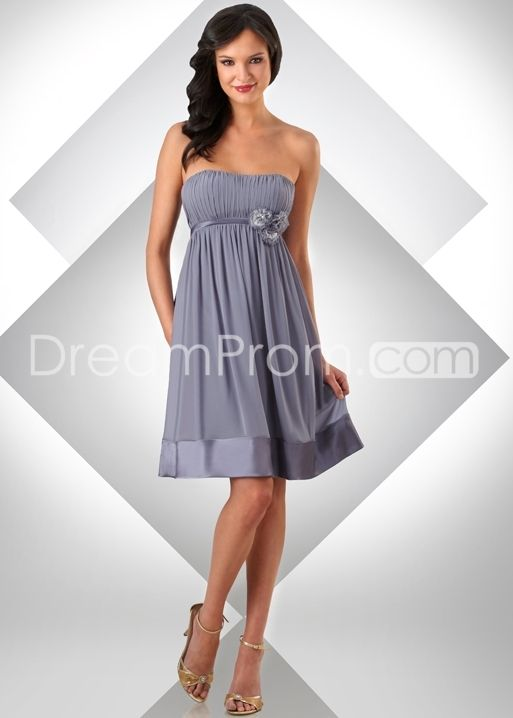 Charming Draped Flowers Short-Length Strapless Bridesmaid Dresses