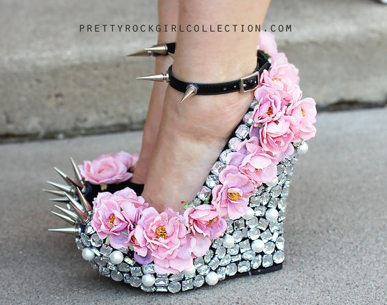 Floral Rhinestone Studded Spike Wedge Shoes in Pink or Red Roses 5