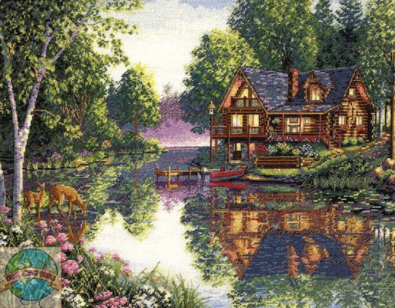 """Craft: Counted Cross Stitch Title: Cabin Fever By: The Gold Collection of Dimensions, Inc. Size: 16"""" x 12"""" (41 x 30 cm)"""