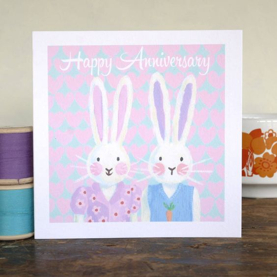 personalised bunny anniversary card by moobaacluck   notonthehighstreet.com