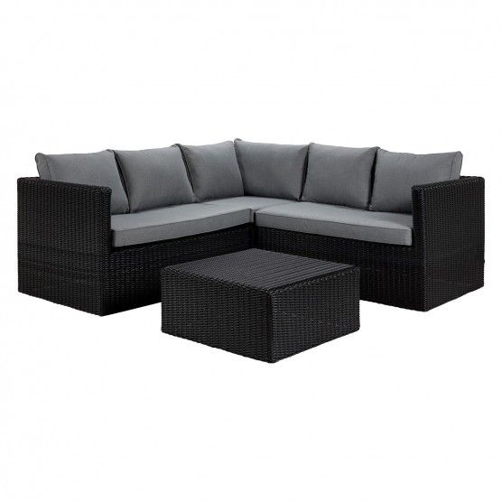 Xander Black Rattan Corner Sofa With Square Coffee Table Rattan Corner Sofa Corner Sofa Rattan Coffee Table