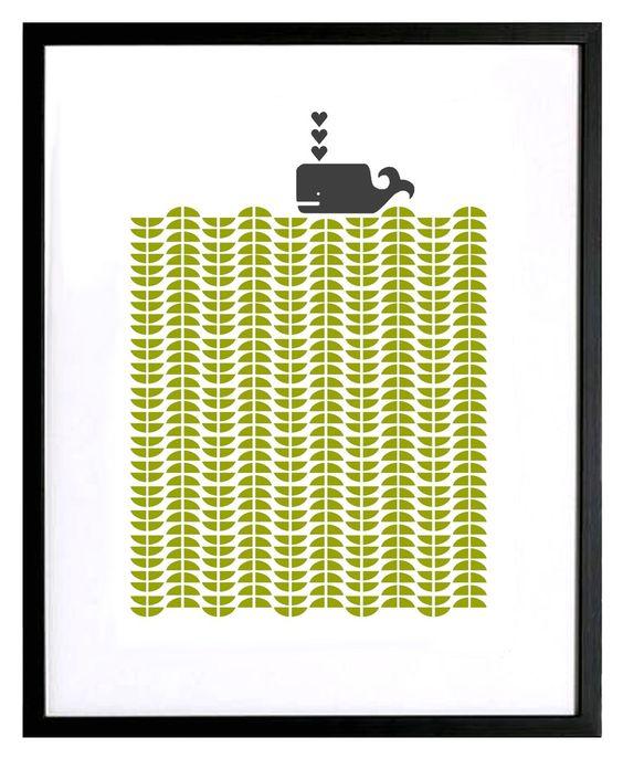 Image of Whale silkscreen print (more colours...)