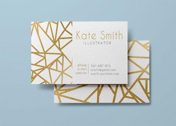 Gold business card template, modern business card design custom gold foil, instant download business card printable geometric pattern golden