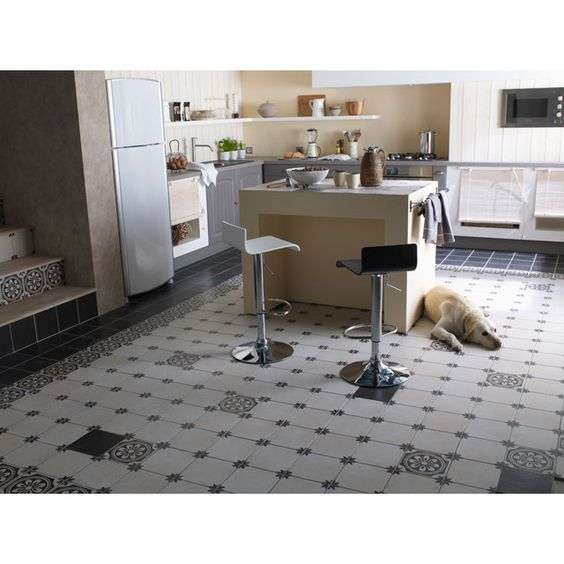 Carrelage sol et mur noir 20 x 20 cm versailles castorama tile for kitchen and baths - Carreaux sol noire ...