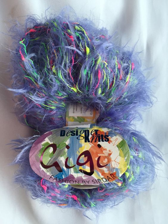 Sirdar GiGi Fashion Shade 044 Pigalle Purple (Purple & Pink and Yellow) by Knitting Fever Inc. Textured Eyelash Yarn by dcoyshouseofyarn on Etsy