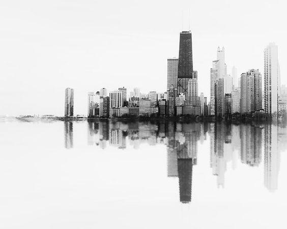 Chicago Skyline Photography Chicago Wall Decor Print Black
