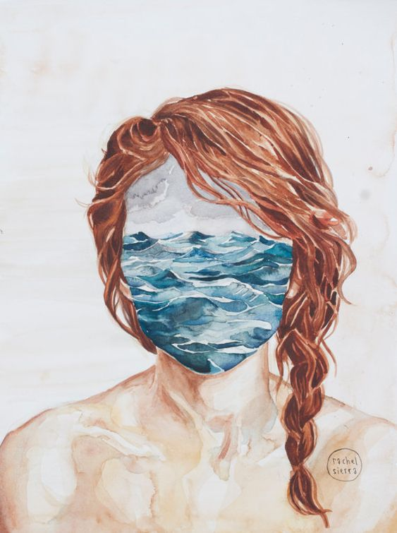 Her Mind & the Sea. Watercolor. 12 x 16 por RachelSierraArt en Etsy, $25.00