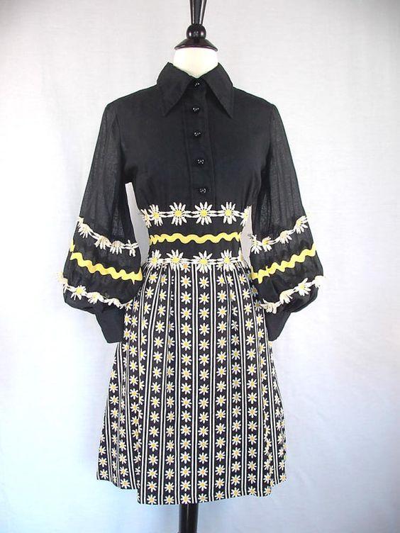 RESERVED for Shannon Vintage Mod 60&39s Dress Howard Wolf / Black ...