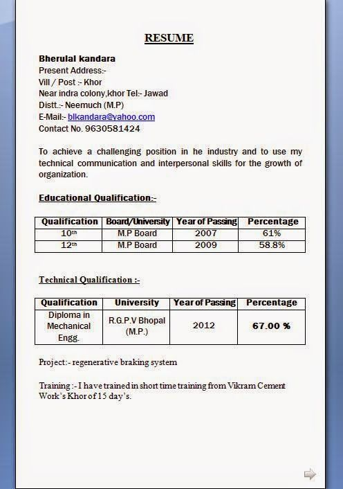 Mechanical Diploma Resume Format For Freshers Latest Engineer