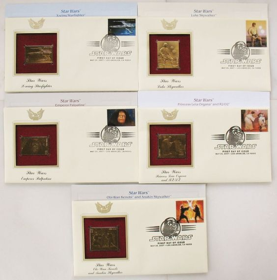 LOT 5 FIRST DAY OF ISSUE COVER 22K GOLD REPLICAS STAR WARS 2007 STAMPS SKYWALKER
