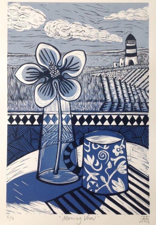 Morning View (2016) Linocut by Alison Headley   Artfinder