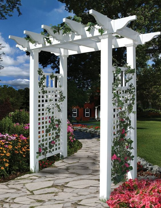This stylish arbor features a flat top pergola design to compliment any garden or walkway. Because it's made of maintenance-free and durable vinyl, it will not rot like wood or rust like iron. Click to view more ideas for your outdoor area.