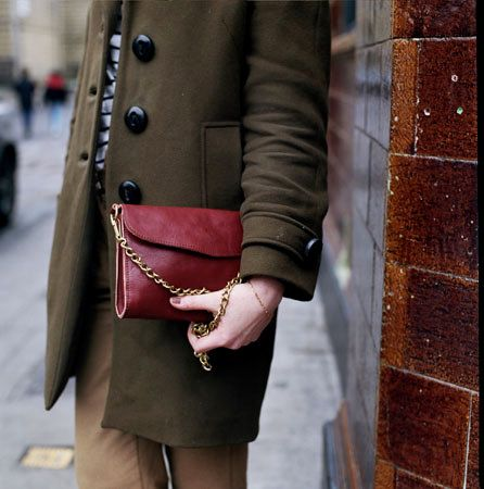 Perfect for fall: olive green + maroon, with just a hint of gold.