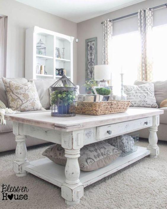 Beautiful White Shabby Chic Living Room Decoration Ideas 50 Mobilier De Salon Table De Salon Deco Salle A Manger