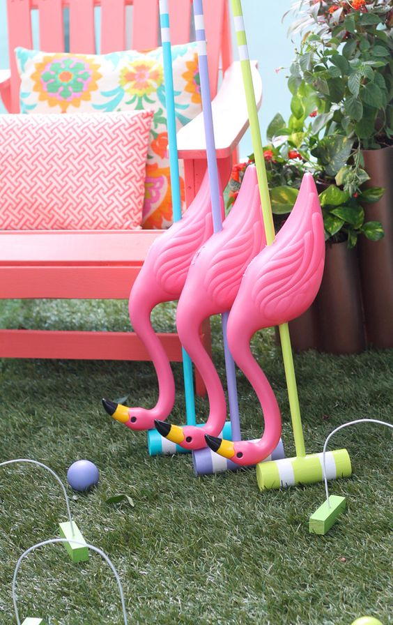 DIY Flamingo Croquet Set - by Damask Love on the The Home Depot Apron Blog: