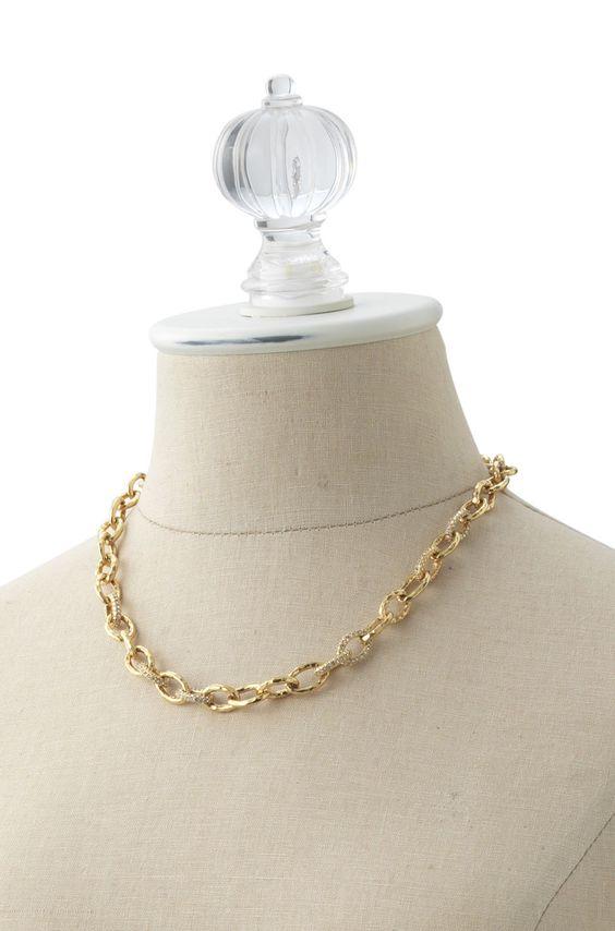 Pave Crystal & Gold Link Necklace | Christina Link Bracelet | Stella & Dot