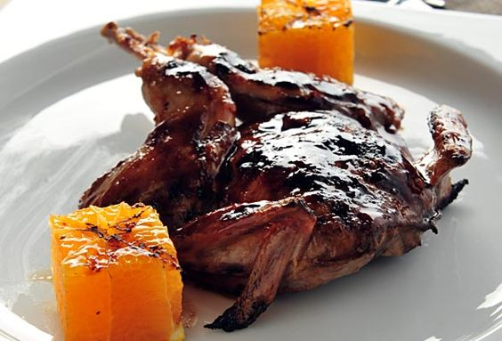 Grilled Quail with Cranberry Marsala Glaze and Clementines