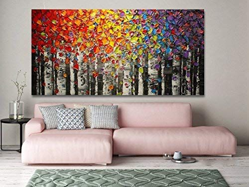 Amazon Com Faicai Art Canvas Wall Art Red Yellow Blue Purple Birch Oil Painting Wall Decor Pictures Hand Tree Painting Canvas Wall Decor Pictures Yellow Decor