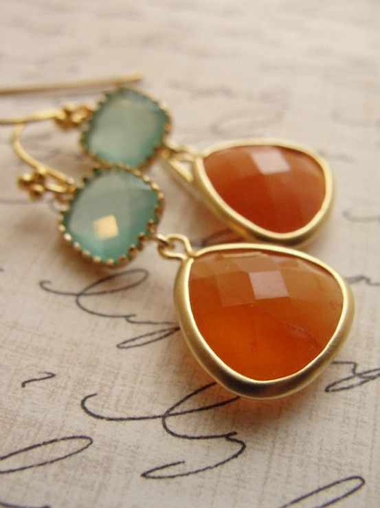Not necessarily crazy about the earrings themselves, but this is one of my favorite color combinations.