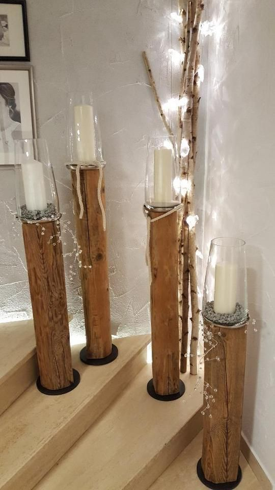 Windlicht Saule Laterne Holz Balken Holzbalken Deko Leuchter In