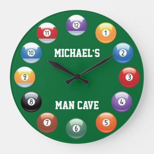 Billiard Balls Personalized Wall Clock Zazzle Com Personalized