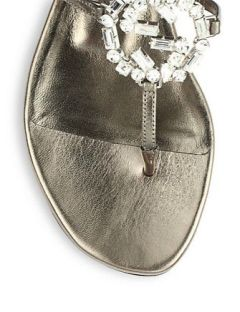 GUCCI GG Crystal Leather and Suede Sandals