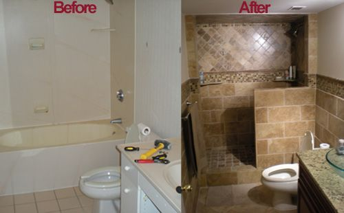 Bathroom remodeling ideas before and after atlanta tile - Before and after small bathroom remodels ...