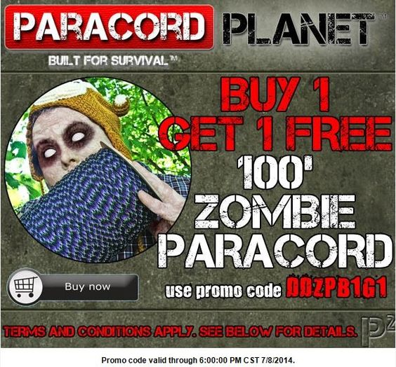 "ACT FAST!! From NOW until 6 PM CT today, if you buy one 100' hank of ""zombie"" cord, you'll receive one 100' hank FREE!! We have 9 different zombie colors available here: http://www.paracordplanet.com/Zombie-550-Paracord-7-Strand--100_p_1911.html?utm_source=Paracord+Planet+Newsletter+Subscribers&utm_campaign=bb97c38660-dd070814&utm_medium=email&utm_term=0_e3446085f2-bb97c38660-&mc_cid=bb97c38660&mc_eid=%5bUNIQID%5d"