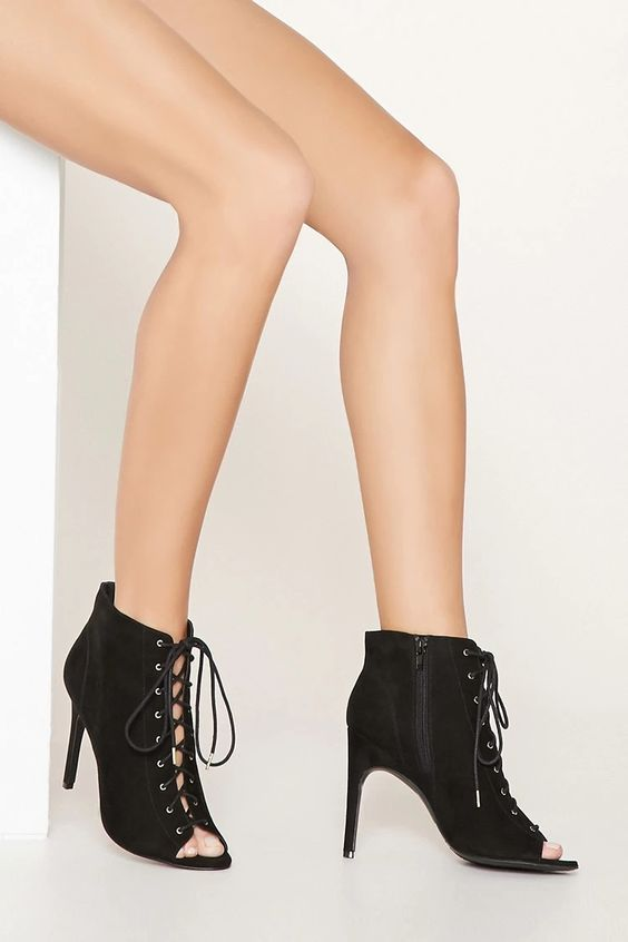 Peep Toe Lace-Up Booties #thelatest