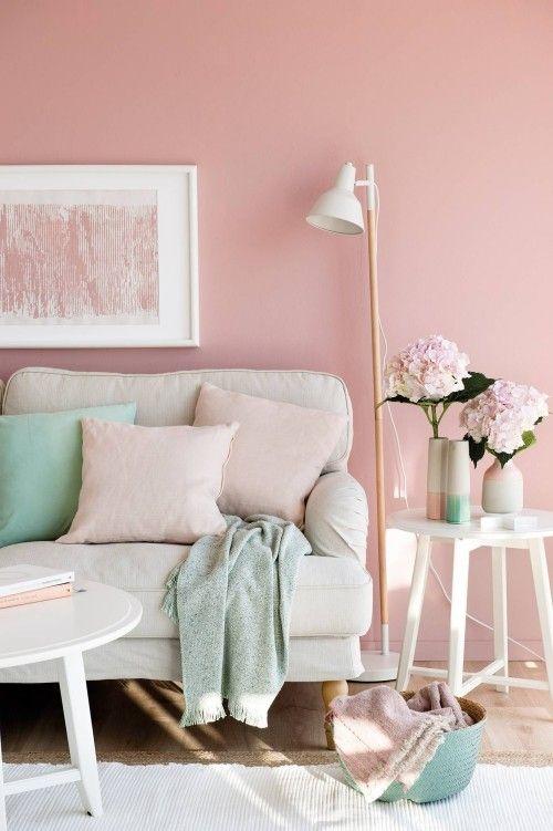 Weiblichkeit Im Interieur Durch Die Wandfarbe Altrosa Ausdrucken Wandfarbe Wohnzimmer Zimmer Farben Und Wohnzimmerwand