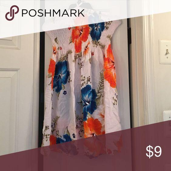Flower Dress Orange and Blue Flower Beachy Sun Dress Dresses Strapless