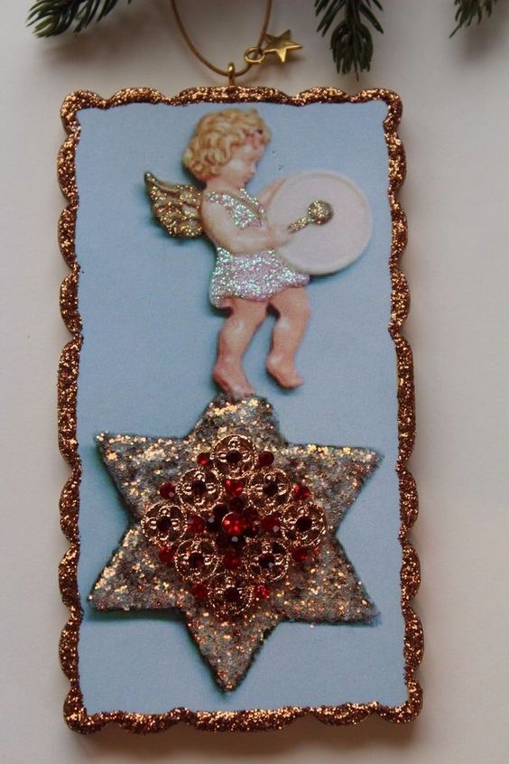 Beautiful Angel Drums Star Brooch Vtg Img Glitter Wood Slice Christmas Ornament