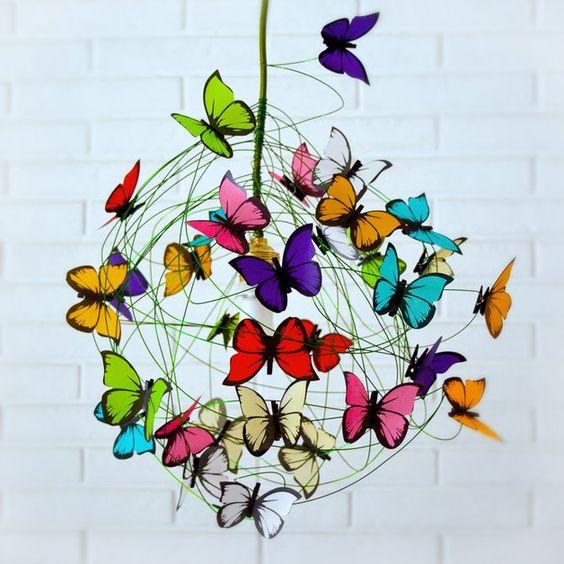 Lámparas colgantes - Lampara con mariposas multicolores y cable verde - hecho a mano por Marcela-Delacroix en DaWanda