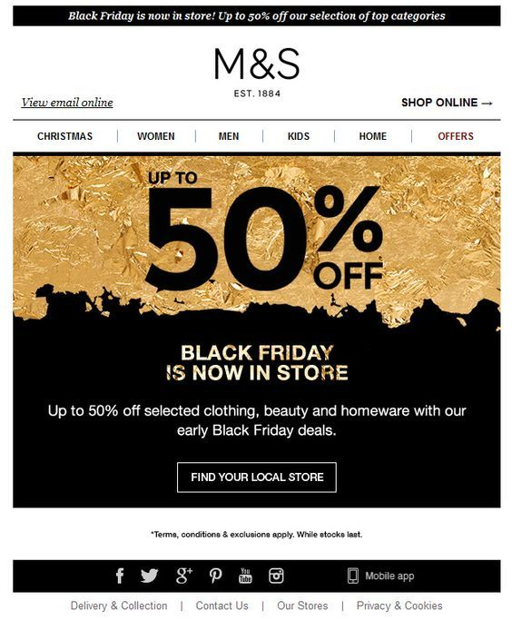 M S Black Friday Black Friday Design Black Friday Email Black Friday