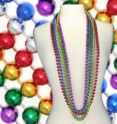 48 12mm Round Mardi Gras Beads Pack by Accent Annex. $2.60. You can't have a true Mardi Gras celebration without plenty of beads! Each pack of Mardi Gras beads includes a dozen 48 inch, 12mm round strands of authentic Mardi Gras tradition. You can never have too many beads at a Mardi Gras celebration. Stock up now, and it's sure to be a night to remember.