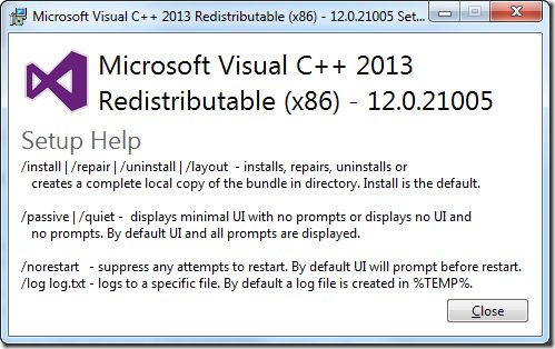 Microsoft Visual C++ Redistributable 2013 Screenshot