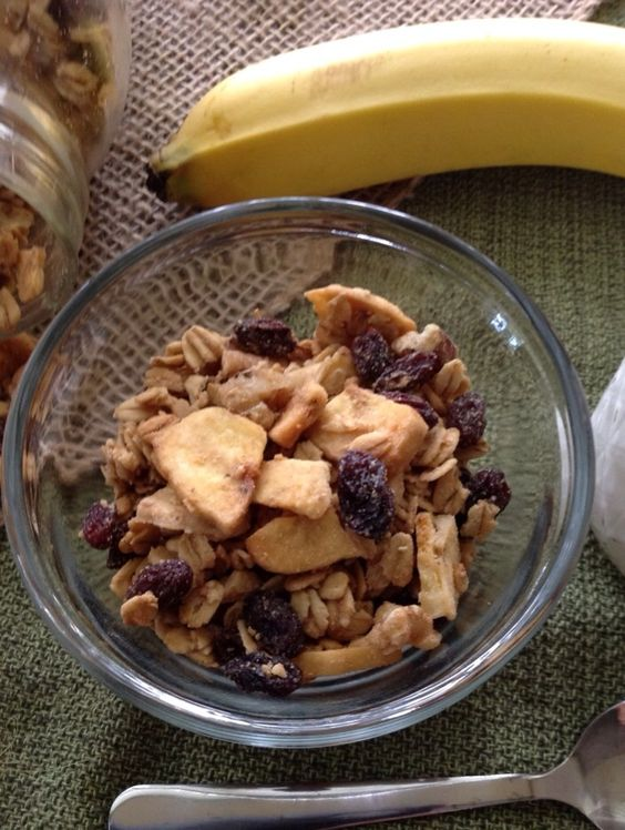 Monkey Mix Granola made with peanut butter, banana chips, and raisins. Vegan, naturally sweetened and gluten free.