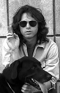 """Jim Morrison & his dog Sage.... In my humble opinion the greatest band of all time.... Just got into town about an hour ago....  (A true legend, hearing Morrison & Co at 15 was one of the best experiences of my life, after hearing """"Riders on the Storm"""" I was a convert, for life - A.R.)"""