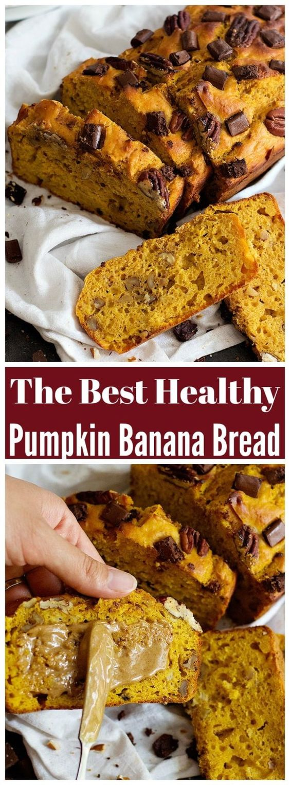 Healthy Pumpkin Banana Bread is made with Greek yogurt and is so soft. With chocolate chunks and pecans, this healthy pumpkin bread is completely irresistible! #bananabread #pumpkinbread #pumpkinbananabread #fallrecipes
