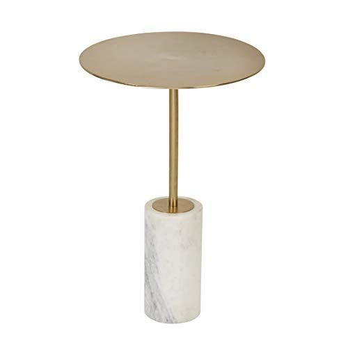Benjara Gold And White Modern Round Marble Accent Table With Cylindrical Base Benjara In 2020 Marble Accent Table Marble Accents Modern Accent Tables