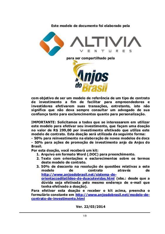 Modelo de Contrato de Investimento por Opções - Altivia Ventures para Anjos do Brasil