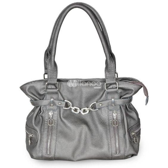 38*11*23cm Fashion Silver PU Tote Handbag found on Polyvore