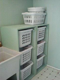 I should make this for my mom! laundry basket storage drawers (would prefer rolling shelves for baskets to rest on).