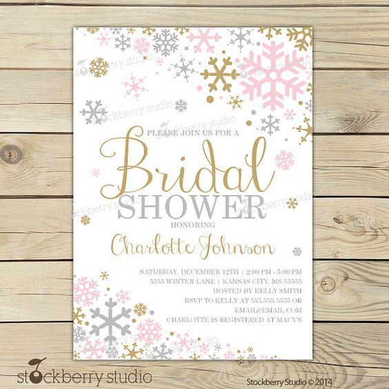 Winter Bridal Shower Invitation Pink Gold by stockberrystudio