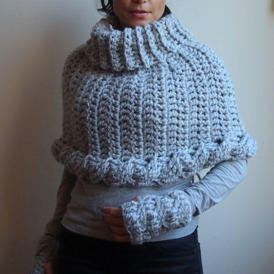 Crochet PATTERN, cable capelet, bulky neckwarmer, infinity ...